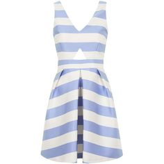TOPSHOP PETITE Striped Dress ($70) ❤ liked on Polyvore featuring dresses, short dresses, pale blue, short white dresses, a line cocktail dress, fitted dresses, short cocktail dresses and petite dresses