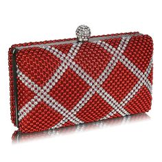 Beaded clutch in red. This stunning clutch has a large diamanté fastening, a removable chain shoulder strap, a lined interior and comes in a gorgeous display box with a bow. handbagandheel.com