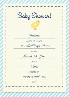 Custom baby shower invitation created with the Martha Stewart CraftStudio app.