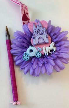 Pretty CINDERELLA Castle autograph pen for DISNEY park character autographs  Cinderella Lanyard,  purple ink easy access pen. by GigisFlowerFancy on Etsy