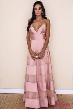 V Neck Pink Prom Dress With Spaghetti Straps Formal Dress PD20189088