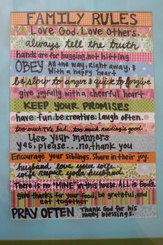 Lu Bird Baby: Tutorials.  Family rules sign made out of scrapbook paper....very cute!