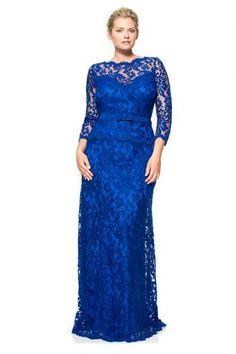 Tadashi Shoji 3K1224LQ-MARNA Шикарное Синее Кружевное Платье