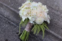 elegant white and gold bridal bouquet calla lilies orchids dahlias roses gardenia www.sophisticatedfloral.com portland oregon wedding florist