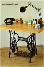 vintage table laptop desk console table singer cast iron legs wooden UK DELIVERY