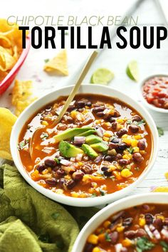 EASY Chipotle Black Bean Tortilla Soup! So simple, hearty and delicious! #vegan #glutenfree #recipe #easy #healthy #soup #mexican
