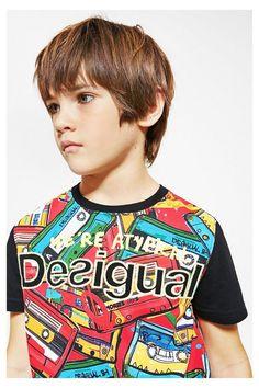 Camiseta negra de manga corta para niño Arturo | Desigual.com B
