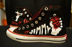 Hand Painted American Idiot Green Day Converse by RahulMistry, $95.00 OMG I WANT TO SEE THIS MUSICAL LIVE SO BAD