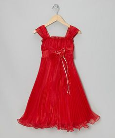 Take a look at this Red Bow Pleated Babydoll Dress - Toddler & Girls by Party Perfect on #zulily today!