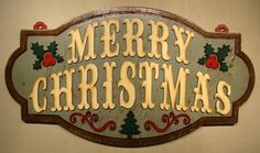Merry Christmas Wood Sign Vintage Sign Rustic by TheGlitteredPig