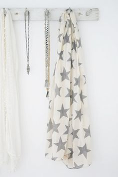 White scarf with grey stars