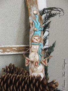 Creative Paperclay® air dry modeling material: Re-claimed Wood Snowman Decor
