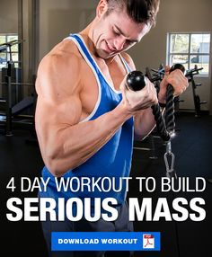 Gym Workouts For Men, Workout Plan For Men, Weekly Workout Plans, Weight Training Workouts, Weekly Workout Routines, Muscle Mass Workout, Muscle Building Workouts, Muscle Fitness, Mens Fitness