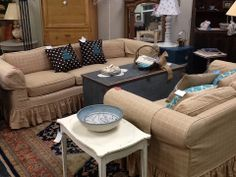 Slip covered and so perfect for a cottage. This set includes a sofa and love seat.