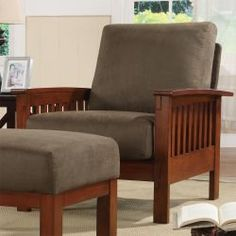 Enrich your home decor with a Hills Mission-style chair Furniture features a solid wood frame with a dark oak finish Armchair also features olive-colored microfiber fabric