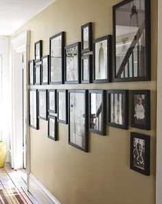 Another interesting way to hang a framed photo collage.