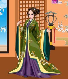 Anime woman dressed in junihitoe