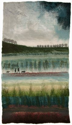'Morning Walk' - felted fabric art by Valerie Wartelle (Yorkshire felt artist)