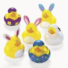 """One Dozen (12) Easter Rubber Ducky Party Favors by Oriental Trading Co. $10.95. They don't squeak, but they do have a tiny hole in their beak for squirting water.; These do not float upright.; Perfect for Easter baskets, pre-school parties, cake toppers, etc.; Each measures approx 2"""" x 2"""" and are about 2-3"""" High.. Rubber ducky collectors will want to add these cute little Easter dressed rubber ducks to their collection this year. You will receive 12 ducks total. TWO of each desig..."""