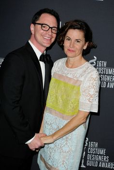 Host Joshua Malina (L) and costume designer Melissa Merwin attend the 16th Costume Designers Guild Awards with presenting sponsor Lacoste at...
