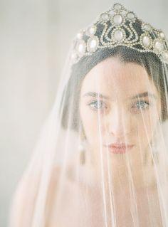 Vintage BRIDAL CROWN/Opalesque Glass Cabochon CROSS Tiara/Ethereal Pre Raphaelite Beauty/Historic/Fairytale/Bride/Stylist