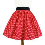 Red and White Polkadots Pleated Skirt