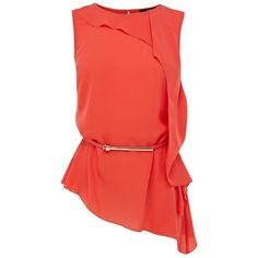 Oasis Roxanne Frill Top, Coral ($15) ❤ liked on Polyvore featuring tops, blouses, shirts, blusas, red ruffle blouse, no sleeve shirts, sleeveless shirts, coral blouse and oasis shirt