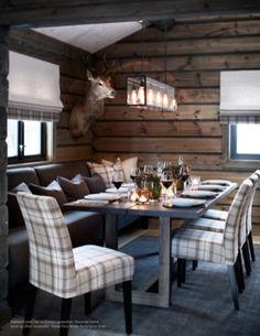 Modern rustic design, wood furnishings, plaid upholstered seating, wood wallcovering, pendant lighting- minus the taxidermy Chalet Design, Cabin Homes, Log Homes, Cabin Chic, Cabin Interiors, Cuisines Design, Rustic Design, Interior Design Living Room, Ikea Interior
