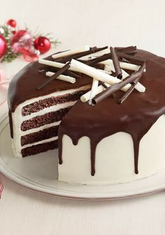 Tuxedo Cake – When the occasion calls for something elegant, this dramatic-looking chocolate Tuxedo Cake with white frosting and chocolate glaze is the one to make!