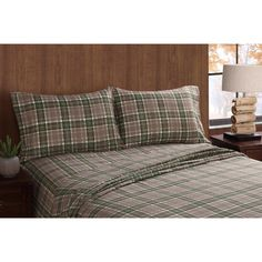 Ideal for outdoor-themed bedrooms, the Remington Long Trail Plaid Sheet Set by PEM America features a classic plaid pattern in green, taupe,. Bed Sheets Sale, Twin Sheets, Twin Sheet Sets, Flat Sheets, King Pillows, Bedroom Themes, Pillow Cases, Plaid, Canoe