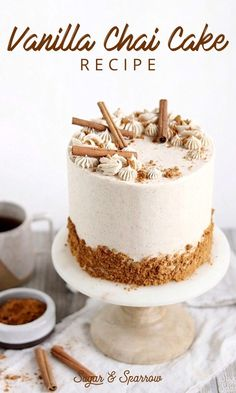 Vanilla Chai Cake Recipe Learn how to make this delicious vanilla chai layer cake infused with chai tea + spiced with a homemade Chai Spice Mix. Perfect for Autumn Tea Cakes, Mini Cakes, Cupcakes, Cupcake Cakes, Shoe Cakes, Fondant Cakes, Chai Cake Recipe, Just Desserts, Dessert Recipes