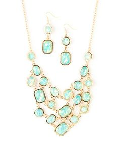 Look what I found on #zulily! Turquoise Opal Essence Bib Necklace & Drop Earrings by Made It #zulilyfinds