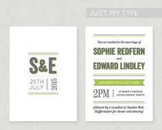 A simple yet very striking design with bold typography, printed onto lovely 320gsm textured card, double sided. The design can be adapted to a colour of your choice for free! From £2.20 per invite. www.fairyfrog.co.uk