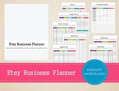 Printable Etsy Business Planner Small by MBucherConsulting Successful Home Business, Business Money, Business Advice, Erin Condren Life Planner, Weekly Planner, Printable Planner, Printables, Business Planner, Etsy Business