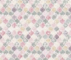 Dusky Rose, Cream and Grey Floral Moroccan Tiles fabric by micklyn on Spoonflower - custom fabric