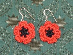 crochet poppy earrings