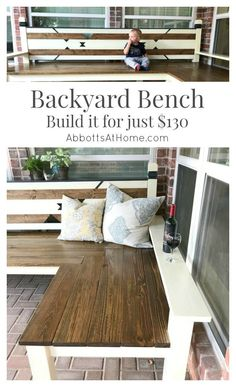 DIY Plans for an L-Shaped Wood Backyard or Outdoor Bench. #bench #DIY #backyard #outdoor