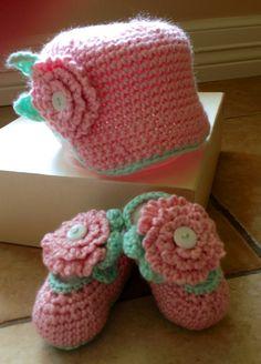 Baby girl hat and booties- crochet