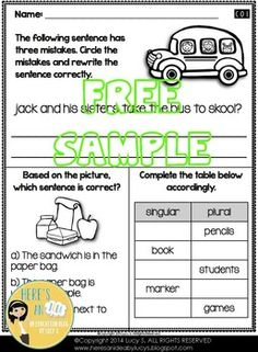 2nd Grade Language Morning Work: Back-to-School CCSS (review of first grade topics) - 4 FREE worksheets