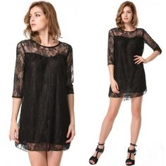 Fashion Sexy Women's Casual 3/4 Sleeve O-neck Mini Short Straight Party Floral Lace Dress