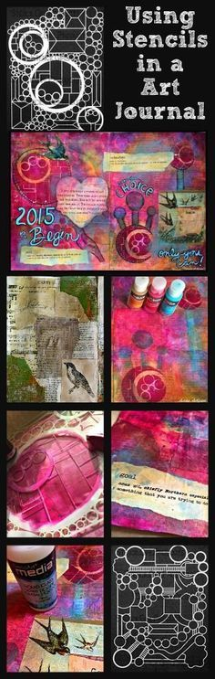 See a step-by-step tutorial on how adding a StencilGirl stencil to your Art Journal page makes it pop with products from DecoArts. Page by Maria McGuire Art Journal Pages, Art Journals, Visual Journals, Mixed Media Journal, Mixed Media Art, Creative Journal, Creative Art, Art Journal Tutorial, Stencil Art