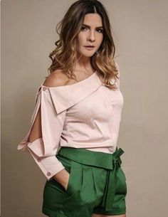 Soft Fabric, One Side Shoulder Down With Mid Cutoff long sleeve For More Details Call Or WhatsApp All Sizes Available Blouse Styles, Blouse Designs, Designer Wear, Designer Dresses, Look Fashion, Womens Fashion, Fashion Design, Fashion Trends, Blouse Dress
