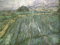 """Vincent Van Gogh, """"Rain"""" (1889). Texture and soft stormy color; I can almost hear these rain drops."""