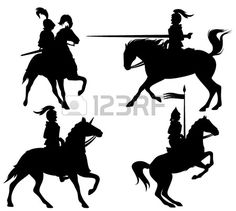 Illustration of knights and horses fine vector silhouettes - black outlines over white vector art, clipart and stock vectors. Medieval Archer, Knight On Horse, Silhouette Clip Art, Action Poses, Cool Art Drawings, Clipart, Royalty Free Images, Vector Art, Illustration