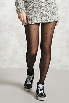 A pair of tights featuring an allover polka dot pattern and an elasticized waist. Edgy Outfits, Pretty Outfits, Beautiful Outfits, Winter Outfits, Cute Outfits, Fashion Outfits, Pantyhose Outfits, In Pantyhose, Nylons