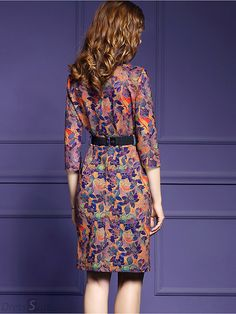 Buy Vintage V-Neck Floral Print Belted Bodycon Dress with High Quality and Lovely Service at DressSure.com