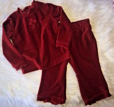 6578721366bb Children s Place Baby Girls 12 Month Red Velour Top  amp  Ruffle Pants Set   TheChildrensPlace