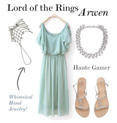 Outfit set made on Polyvore inspired by Arwen's green coronation outfit from the movie, Lord of the Rings: Return of the King.