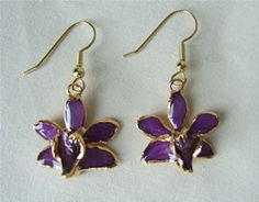 24 K Gold Dipped Miniature *Preserved* Orchid Earrings Purple Wire