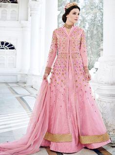 814d71f1e5b Shop semi stitched pink net anarkali salwar suit